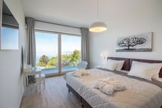 Luxury, modern, large bedroom with big glass walls and balcony with topic sea view. All on one place: Few click and you will be here: Large Bedroom, Luxury Life, Villa, Glass Walls, Balcony, Modern, Bedrooms, Sea, Furniture