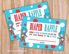 Attractive Dr Seuss Thing 1 U0026 Thing 2 Inspired Diaper Raffle Ticket For Baby Shower By  GlitterInkDesigns