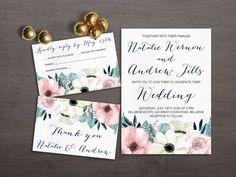 Anemone Wedding Invitation Suite Floral Wedding by lipamea on Etsy