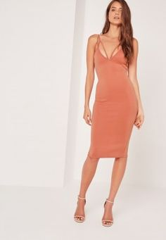 Harness Strappy Scuba Midi Dress Pink