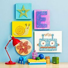 """You Will Need: Scrap paper or one of our templates (see below) Wood plaque (for the star, we used an 8-inch-square """"wood canvas"""" from Michaels) Tape Hammer and 1-inch decorative nails String"""