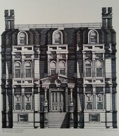 1989 Victorian DUPLEX VICTORIANA Pacific Ave. San Francisco Hand Drawn  Black Cat