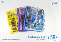 Cartoon Theme Stationary Set With Wallet Only @ Rs. 59/- Only. Different cartoon characters for kids. Best birthday return gifts for kids    Get it Here : http://www.birthdayboom.in/stationary-set    #kids #children #birthdayboom #cartoonthemes #birthdayreturngifts #returngifts #birthdayparty #partyfun #celebration
