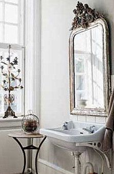 Love that vintage mirror | Home decorating | Bathroom Decorating | Shades of White