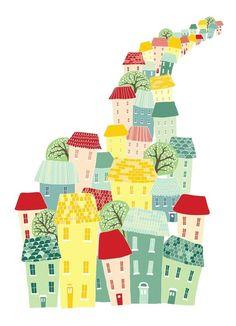 Ilustrasi gedung-gedung padat tak lupa warna-warninya dan pohon-pohon yang timbul hanya satu dua... Memikat