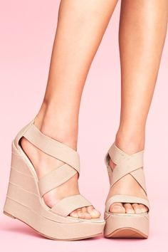 nude wedges....