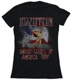 FEA Juniors Led Zeppelin America 1977 Tissue Tee, Black, Small: Lisensed tees Cotton Short sleeve, fitted t-shirt Crew neckline Super soft to touch Neo Grunge, Grunge Style, Soft Grunge, Vintage Concert T Shirts, Vintage Band Tees, Vintage Ladies, Concert Tees, Concert Clothes, Rock Concert