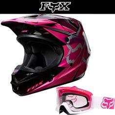 Remember to wear a helmet. Fox Racing V1 Radeon Pink Black White Dirt Bike Helmet w/ Hot Pink Airspc Goggle