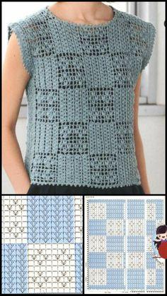 Diy Crochet Sweater, Crochet Dress Girl, Crochet Blouse, Crochet Scarves, Crochet Clothes, Knit Crochet, Crochet Stitches Chart, Granny Square Crochet Pattern, Stitch Patterns