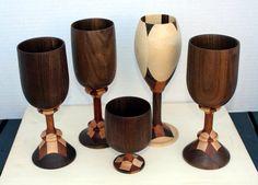 Segmented Wooden Wine Goblets