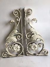 Antique Pair(2) 1890's  Wrought Iron Corbel Shelf Brackets Victorian Ivory A1