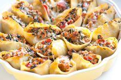 The Best Recipe : Sausage Stuffed Shells Recipe with Spinach Sausage Stuffed Shells, Spinach Stuffed Shells, Stuffed Shells Recipe, Think Food, I Love Food, Good Food, Yummy Food, Tasty, Spinach Recipes
