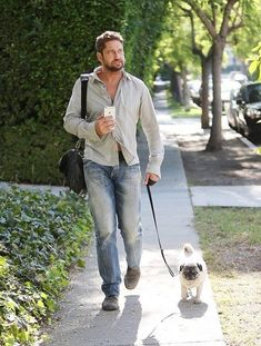 We just want to say happy Father's Day to all the dog dads out there. We want to honor the guys who take good care of the pups they love all year long. Every dog dad deserves to be treated like a celebrity for a day. #dogtime #fathersday #celebritydog #GerardButler Actor Gerard Butler, Nick Lachey, Celebrity Dogs, Matthew Lewis, Architecture Tattoo, Liam Hemsworth, Harry Potter Movies, Animal Quotes, Dog Pictures