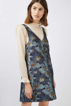 Jacquard pinafore dress with high neck ruffle blouse attached. #Topshop