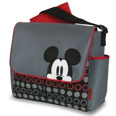 Take fun with you no matter where you go with Baby. This gray messenger diaper bag features a Mickey Mouse graphic and a circle print in black and red.