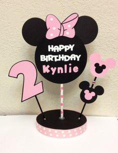 Minnie Mouse Birthday Decoration Centerpiece by TheGirlNXTdoor Minnie Mouse Theme Party, Minnie Mouse Birthday Decorations, Minnie Mouse 1st Birthday, Happy Birthday Name, 1st Birthday Parties, 2nd Birthday, Birthday Centerpieces, First Birthdays, Names Baby
