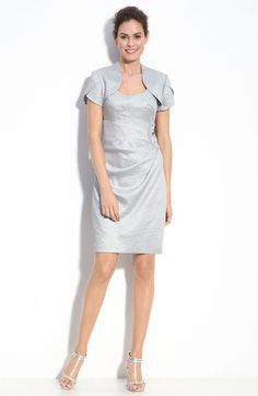 Adrianna Papell Metallic Crepe Sheath Dress & Bolero available at #Nordstrom