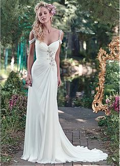 Elegant Chiffon Spaghetti Straps Neckline Sheath Wedding Dresses