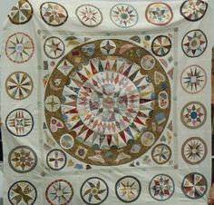 Australian Quilt Study Groups: Report on Margaret Sampson George's QSG of NSW talk on Medallion Quilts Site is full of lovely quilts. Old Quilts, Antique Quilts, Vintage Quilts, Circle Quilt Patterns, Circle Quilts, Quilt Blocks, Mandala, Quilting Frames, Civil War Quilts
