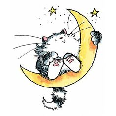 "Cat On The Moon Penny Black Rubber Stamp 2.5""X3 3207H"