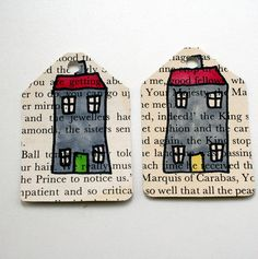 house doodles on gift tags from old books #recycled #draw #painting #diy #handmade #tags #crafts