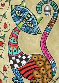 Zentangles and Art: Zentangle Doodles Zentangles, Zentangle Patterns, Doodle Art, Art Fantaisiste, Cat Quilt, Arte Pop, Cat Drawing, Whimsical Art, Art Plastique