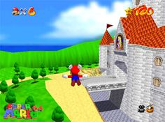 Super Mario 64 - flying through the castle grounds