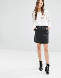 Image 1 of Warehouse Leather Look button Skirt