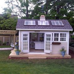 Solar garden shed Planning To Build A Shed? Now You Can Build ANY Shed In A Weekend Even If You've Zero Woodworking Experience! Start building amazing sheds the easier way with a collection of shed plans! Shed Office, Backyard Office, Backyard Studio, Backyard Sheds, Outdoor Sheds, Garden Sheds, Garden Studio, Backyard Cottage, Backyard Pools