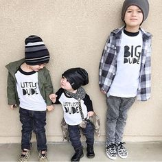 Big Dude, Little Dude, Littlest Dude raglan tees - Little Beans Clothing / matching brother tees, kids fashion, baby beanies, hipster kids. @ashlymarie26