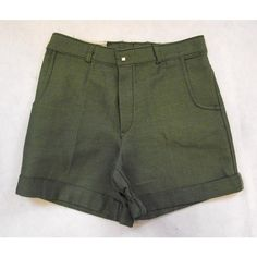 Vintage 70s Mid Green High Waisted Reworked Shorts Size 8 ($26) ❤ liked on Polyvore featuring shorts, high-rise shorts, green high waisted shorts, high waisted shorts, high-waisted shorts and highwaist shorts