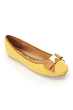 Bamboo Alive-05 Contrast Piping Ballet Flat In Mustard