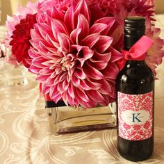 Mini Wine bottle...wedding favors - I would luv this in blue instead of pink
