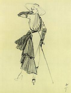 Rene Gruau illustration via For the Love of Opera Gloves