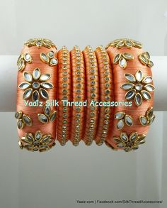 Yaalz Heavy Kundan Work Bangle Set In Peach Color ! Kundan Bangles, Silk Bangles, Bridal Bangles, Bridal Jewelry, Diy Jewelry, Jewelry Sets, Handmade Jewelry, Silk Thread Bangles Design, Thread Jewellery