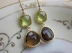 Smoky Brown Earrings Apple Green Two Tier Bridesmaid by laalee, $32.00