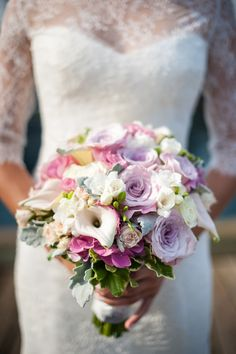Lavender + Pink + Purple Bouquet | See the wedding on #SMP: http://www.stylemepretty.com/massachusetts-weddings/cape-cod/2013/12/16/shining-tides-wedding/  Scobey Photography