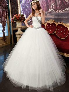 $355.99 Glamorous Ball Gown Tulle Floor-length Crystal Wedding Dresses #Cheap #wedding #dresses #  https://www.facebook.com/ExclusiveWeddingNetworkBlog