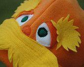 Like the eyebrows and eyes! Lorax Inspired Fleece Hat - Dr Seuss Lorax Beanie - Halloween Costume - Halloween Costume - Kid Costume