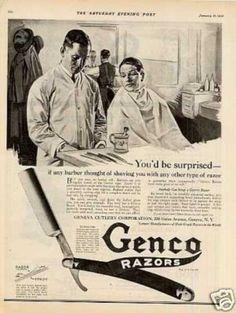 """Genco Razor Ad """"If Any Barber... (1920)"""