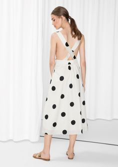 & Other Stories image 3 of Large Dots CottonDress in White Cotton Dresses, Hemline, Ready To Wear, White Dress, Model, Polka Dots, How To Wear, Sunday Brunch, Clothes