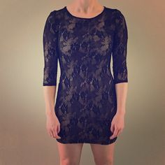 Guess lace dress small Lace dress with nude lining and 3/4 sleeves by Guess. Size small. The material is stretchy. Guess Dresses Long Sleeve