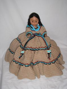 1988 Fibercraft Indian Doll w/ Harvest Moon Crochet Dress