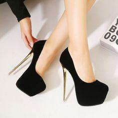 ba80388d97 Barato Hot 2016 New Sexy mulheres bombas 16 CM rodada Toe de salto alto  sapatos de