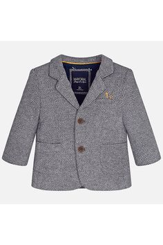 Mayoral Dressy Baby Boy or Girl Hooded Gray//Blue Coat