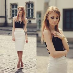 Katarzyna Konderak - Skirt, Heels, Top, Hair - Midi skirt.