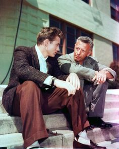 James Dean and director, Nicholas Ray going taking over Rebel Without a Cause.