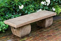 Campania International, Inc Ryokan Cast stone Garden Bench Finish: Ferro Rustico Stone Garden Bench, Stone Backyard, Outdoor Garden Bench, Stone Bench, Garden Stones, Outdoor Benches, Garden Benches, Garden Seating, Outdoor Stone