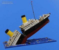 Incredible LEGO model of the Titanic breaking in half
