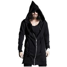 New Hip Hop Fashion Men Sweatshirt Hoodie Punk Rock Style Wizard Hat Extended Side Zipper Design